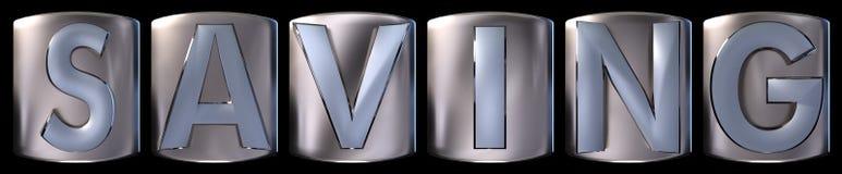 Metallic saving word. Metallic blue silver saving word realistic 3d rendered on black background Royalty Free Stock Images