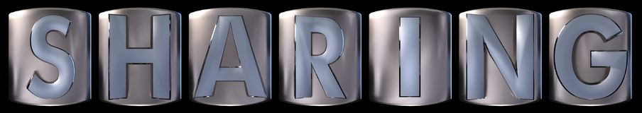 Metallic sharing word. Metallic blue silver sharing word realistic 3d rendered on black background Stock Image