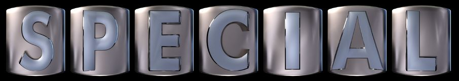 Metallic special word. Metallic blue silver special word realistic 3d rendered on black background Stock Photography