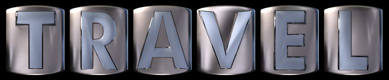 Metallic travel word. Metallic blue silver travel word realistic 3d rendered on black background Stock Images