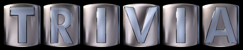 Metallic trivia word. Metallic blue silver trivia word realistic 3d rendered on black background Stock Photography