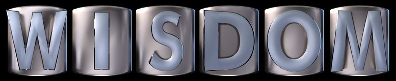 Metallic wisdom word. Metallic blue silver wisdom word realistic 3d rendered on black background Royalty Free Stock Photo