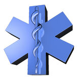 Metallic blue star of life, from bottom right. Metallic blue star of life on white background, 3d rendering Stock Photo