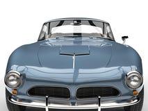 Metallic blue vintage sports car  - front view closeup shot Stock Photo