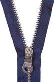 Metallic blue zip fastener close up Stock Images