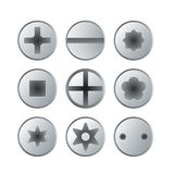 Metallic bolts and screws heads isolated set royalty free illustration