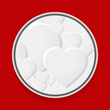 Metallic border with white hearts on red Stock Photo