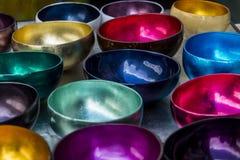 Metallic bowls Stock Photos