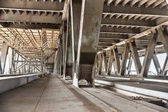 Metallic bridge construction. City bridge construction industrial scene empty background stock images