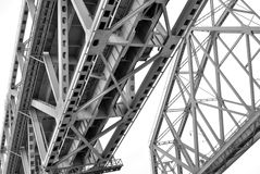 Metallic bridge, low angle view. Black and white photo. Stock Images