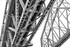 Metallic bridge, low angle view. Black and white photo. Stock Images