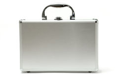 Metallic briefcase. Isolated over white background royalty free stock images