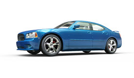 Metallic Bright Blue Fast Car Royalty Free Stock Photos