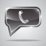 Metallic bubble with shiny phone icon Royalty Free Stock Photos