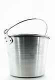 Metallic bucket. Royalty Free Stock Photo