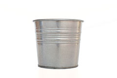 Metallic bucket. Isolated on white background Stock Image