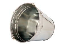 Metallic bucket. Zinc pail Isolated on white background stock photo