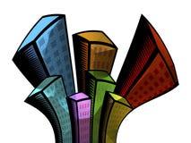 Metallic building. Cartoon style buildings Vector Illustration