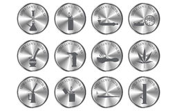 Metallic button and cannabis equipment icon Stock Images