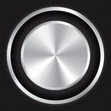 Metallic button on Carbon fiber background. Stock Photography