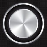 Metallic button on Carbon fiber background. Stock Photography