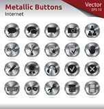 Metallic Buttons - Internet. Set of Metallic Buttons for Web, Internet Royalty Free Stock Photo