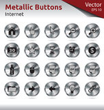 Metallic Buttons - Internet. Set of Metallic Buttons for Web, Internet Stock Photo