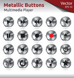 Metallic Buttons - Multimedia. Set of Metallic Buttons for Multimedia Players, Web, Internet Royalty Free Stock Photos