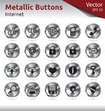 Metallic Buttons - Multimedia. Set of Metallic Buttons for Web, Internet Royalty Free Stock Image