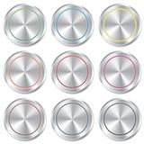 Metallic buttons template set. Realistic icons. Stock Photos