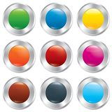 Metallic buttons template set. Realistic icons. Stock Images