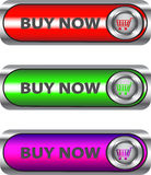 Metallic Buy now button set. Buy Now metallic button/icon set for web applications. Vector stock illustration