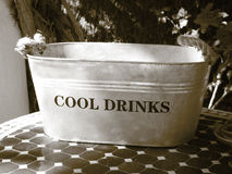 Metallic can for cool drinks. Sepia tone. Royalty Free Stock Photography