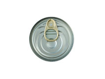 Metallic can with a key opener isolated on white Stock Images