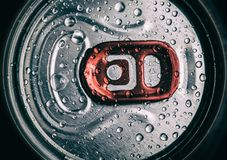Metallic can with water droops, view from the top Royalty Free Stock Photos
