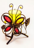 Butterfly shaped and colorful candle holder Stock Image