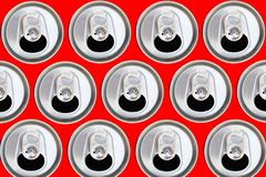 Pattern can from beer or soda flat lay. steel background. Metallic cans top view. pattern can from beer or soda flat lay. steel background. recycling concept royalty free stock photography