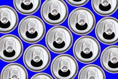 Metallic cans top view. pattern can from beer or soda flat lay. Stock Photo