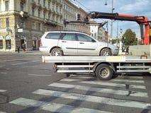 Metallic car is taken away in Vienna Royalty Free Stock Photo