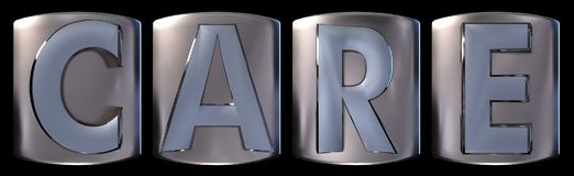 Metallic care word. Metallic blue silver care word realistic 3d rendered on black background Stock Photos