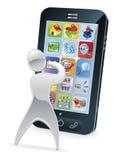 Metallic cartoon character phone concept Stock Photo