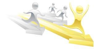 Metallic cartoon character race concept Stock Image
