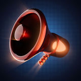 Metallic cartoon megaphone on blue background Stock Images