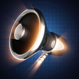 Metallic cartoon megaphone on blue background Stock Photography