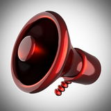 Metallic cartoon megaphone on gray background Stock Image