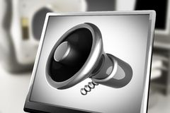 Metallic cartoon megaphone on monitor in laboratory Royalty Free Stock Photos