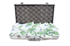 Metallic case full of money. Metallic case full of euro ,isolated on white Royalty Free Stock Photography