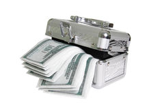 Metallic casket with fake money. Isolated Royalty Free Stock Images