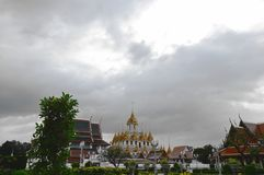 Only metallic castle in world at Ratcha Nadda temple Thailand. Only metallic castle in the world at Ratcha Nadda temple Thailand Stock Photo