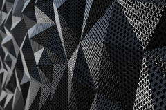 Metallic chain armor abstract geometric background. Metallic chain armor abstract geometric polygonal background. 3D rendering Stock Images